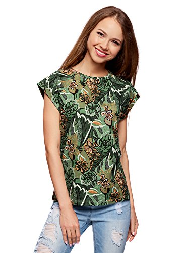 oodji Ultra Damen Baumwoll-T-Shirt mit Druck, Grün, DE 36/EU 38/S