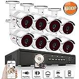 Poe Überwachungskamera Set, ANRAN 1080P 8CH Poe NVR + 8 * 1080P Überwachungskamera 2TB Überwachungsfestplatte, Fernzugriff, Bewegungserkennung, Nachtsicht bis zu 30 Meter