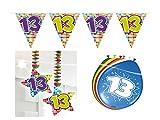 Partydeko Set 13.Geburtstag Kindergeburtstag 11 teilig Mädchen Junge Girlande Luftballon