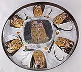 Gustav Klimt - Kaffeeservice mit Kuchenplatte 19 - teilig - Der Kuss in Schwarz