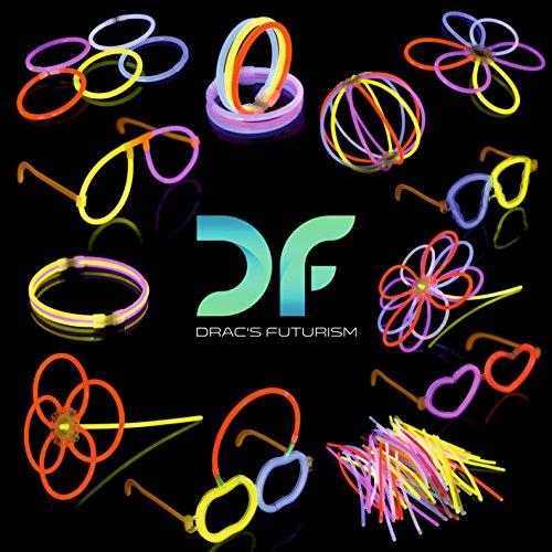 dracs Futurismus 100Premium Glow Stick Party Pack Kit also–Knicklichtern geliefert–Halsketten–Armbänder–Gläser–Blumen–Bälle (Armbänder In The Dark Glow Bulk)