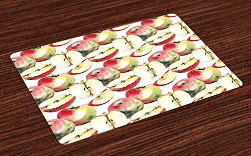 ABAKUHAUS Apfel Platzmatten, Halbierte und geviertelte organische McIntosh-Äpfel Gourmet Food Healthy Life, Tiscjdeco aus Farbfesten Stoff für das Esszimmer und Küch, Reseda Grün Elfenbein Rot