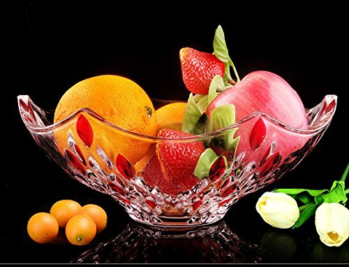 Large Transparent Crystal Glass Fruit Bowl Living Creative Fruit bowl,Red