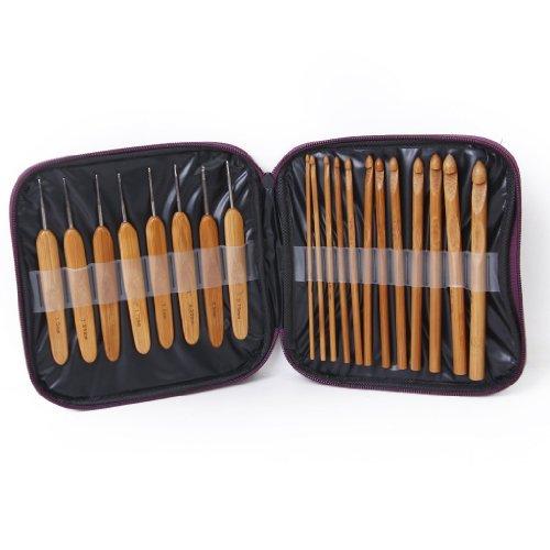 Set 20 piezas Agujas Ganchillo Bambú Tejer - Con