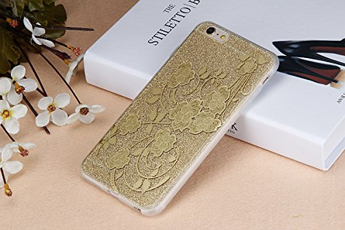 iPhone 6S Plus Hülle,iPhone 6 Plus Hülle,ikasus® iPhone 6 / 6S Plus Silikon Hülle [Kristallklar Durchsichtig],Bling Funkeln Glänzend Glitzer Überzug Muster Stoßdämpfend Transparent TPU Silikon Schutz  Golden Blumen #2