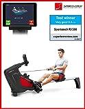 Sportstech RX500 machine à ramer avec contrôle smartphone - App Fitness historique - 12 programmes d'aviron + 4 d'impulsion - 16 niveaux de résistance - mode concurrence - ceinture d'impulsions inclus...