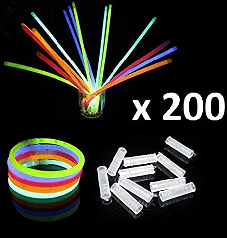 toysntrendz® 200 bâtons fluorescents Assortiment de couleurs et 200 Bracelets fluorescents Connecteurs Kits pour créer des lunettes, triple Bracelets, un bandeau, boucles d