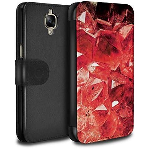 STUFF4 PU Pelle Custodia/Cover/Caso/Portafoglio per OnePlus 3 / Gennaio/Rosso Granato / Pietra Preziosa/Birthstone disegno