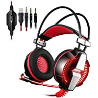 KingTop Ultima 3.5mm Cuffie Gaming Stereo LED Luce Con Microfono Pieghevole Per PS4 PC Tablet Laptop Iphone Samsung Xiaomi LG Cuffie Da Gaming - Rosso