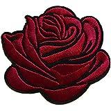 rose bordeaux ecusson fleur porte bonheur patche insigne 7,5x6,5cm thermocollant brodé