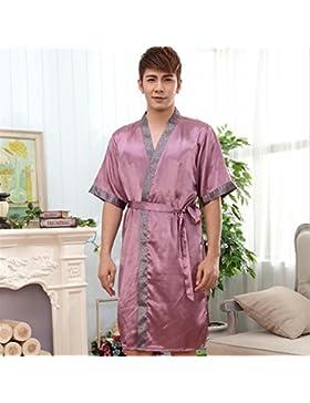 DDOQ - Albornoz de Manga Corta para Hombre, diseño de Pijama, Morado, X-Large
