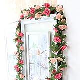 WINOMO Gefälschte Rose Rebe Blumen Pflanzen Künstliche Blume Home Hotel Büro Hochzeit Garten Handwerk Kunst Decor 2 Teile / paket (Rosa)