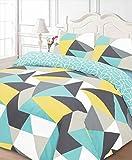 Dreamscene Funky Shapes Duvet Bedding Set With Pillowcases, Multicolour - Double