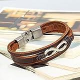 Flongo 2 Stück echtleder unendlichkeitszeichen armband Set