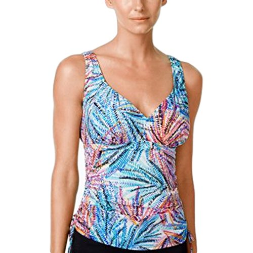 Swim Solutions Damen Tankini-Oberteil mit Palm-Print, verstellbar, Multi 14 -