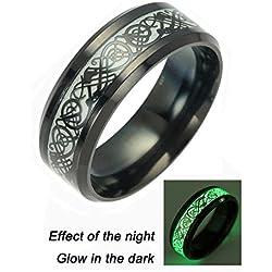 Negro Dragón Celta con anillos para hombres mujeres acero inoxidable Luminou brilla banda de boda joyería