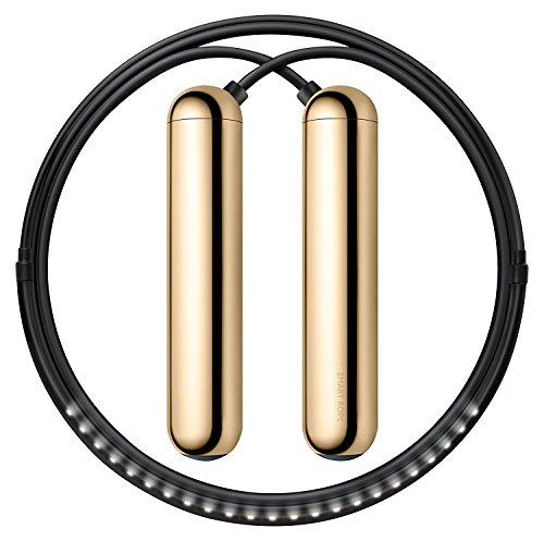 Tangram Factory Smart Rope - LED Embedded Jump Rope (Gold, Large)