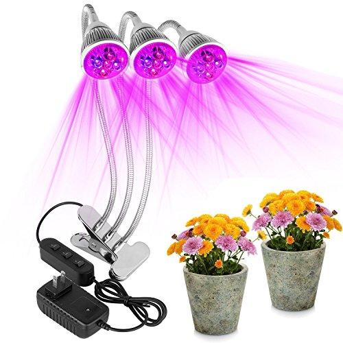 Pflanzenlichter, JHS-TECH Schreibtisch Clip Lampe mit 360 Grad Flexible Schwanenhals und Full Spectrum Wachsen Lampen für Zimmerpflanzen, Pflanzenbau, Hydroponische Garten (three heads)