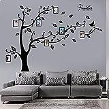 decalmile Gran Vinilo Árbol Pegatinas de Pared DIY Marco de Fotos Familiares Decoración del Hogar para Sala de Estar Dormitorio (Negro)