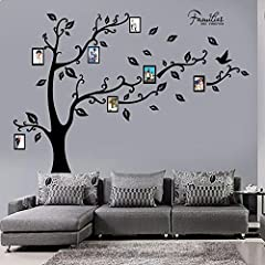 Idea Regalo - decalmile Grande Famiglia Albero Adesivi da Parete Cornici Portafoto Stickers Murali Camera da Letto Soggiorno Decorazioni Parete Nero
