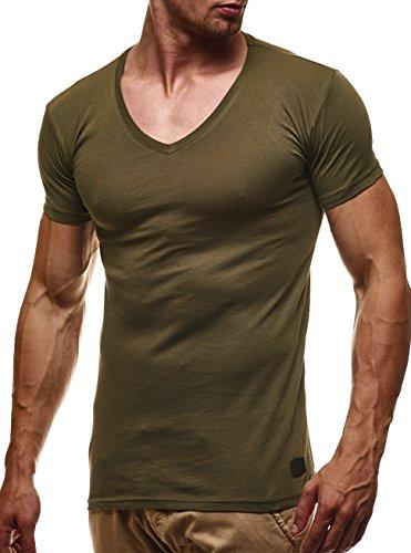 LEIF NELSON Herren Basic T-Shirt V-Ausschnitt Sweatshirt Hoodie Hoody LN6372; Grš§e L, Khaki