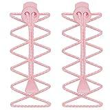 Cordones Elásticos, de 55 Sport, de bloqueo, para correr y triatlón Rosa rosa claro
