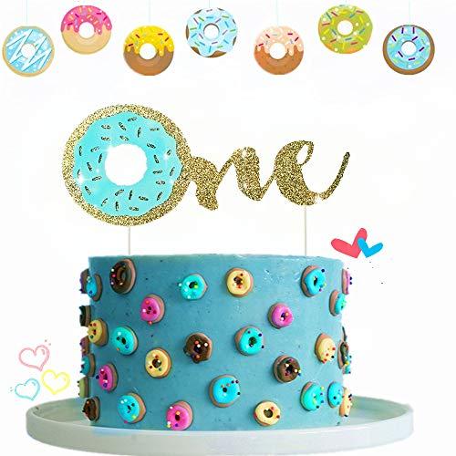 JeVenis Glitzer Baby Blue Donut Kuchen Topper Donut Kuchen Topper Donut Grow Up Cake Topper für Kinder Geburtstag Baby Party Dekoration Supplies