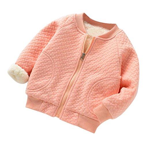 Mantel für 0-2 Jahre alt Baby, Janly Kleinkind warme dicke Bomberjacke Jungen Mädchen Plaid Zip grundlegende Jacke Tops (12-18 Monate, Rosa) -