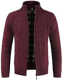 Preisvergleich für ZIYOU Strickjacke Herren Herbst Winter Stehkragen Pullover Männer Mäntel Einfarbig Outwear Tops mit Reißverschluss