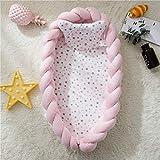 TEALP Kuschelnest Babynest Multifunktionales Nest für Babys Säuglinge Reisebett, 100% Baumwolle, Weiche und sichere Matratze mit abnehmbarem geflochtenem Stoßfänger Pink (0-24 Monate)