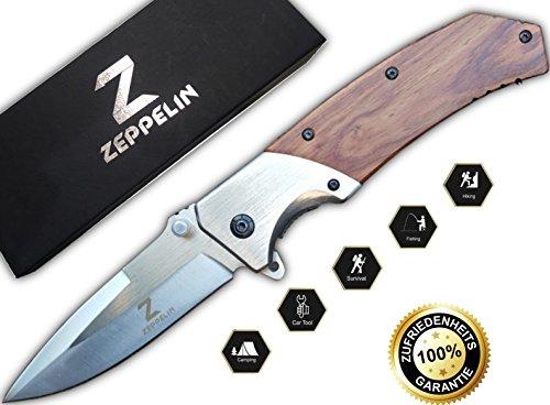 Zeppelin Outdoormesser | Scharfes Survival-Taschenmesser | idealer Begleiter für Freizeit, Angeln, Jagen, Campen | Qualitäts Klappmesser | Perfektes Geschenk für Jäger und Angler