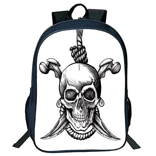HOJJP Schultasche Stylish Unisex School Students Pirate,Jolly Roger Skull Two Knifes Bones Hanging Rope Gothic Criminal Halloween Decorative,Black White Kids,