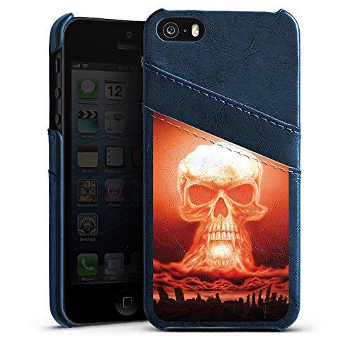 Apple iPhone 5 Housse Étui Silicone Coque Protection Explosion Tête de mort Ville Étui en cuir bleu marine