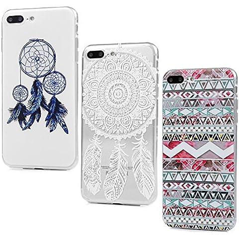 iPhone 7 Plus Funda Cubierta - Lanveni 3pcs Carcasa Suave Flexible TPU Gel Silicona ultra delgado para iPhone 7 Plus 5.5 pulgadas Pintado Protective Case Cover - Patrón Tribal + Totem Campanula + Dreamcatcher