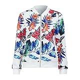 Amphia - Damen Floral-Blumen-Druck Reißverschluss Blumen Gedruckt Bomber Jacke Piloten Baseball Mantel Outwear Tops Coat (Weiß, M)