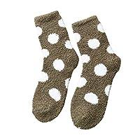 LILICAT Fluffy Socks for Women and Girls Polka Dot- Cosy Soft Microfiber Fuzzy Crew Socks Warm Cozy Home Socks Lounge Thermal Bed Socks for Winter