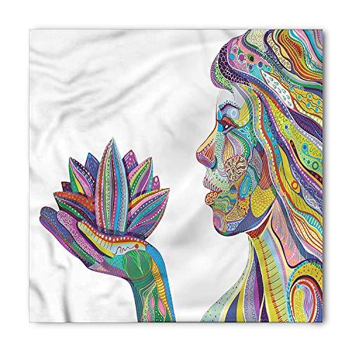 Eastern Bandana, Yoga Pose in Lotus Flower, Unisex Head and Neck Tie, Printed Unisex Bandana Head and Neck Tie Scarf Headband, Multicolor M 100x100cm Lotus Flower Dress