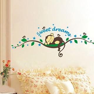 Aardvark Art Süße träumen schlafend Affe am Baum Reben Wandtattoo Wandaufkleber Kinderzimmer Baby