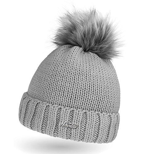 Damen Strick-Mütze mit Fell-Bommel, Wollmütze mit Kunstfell, Winter-Mütze,...