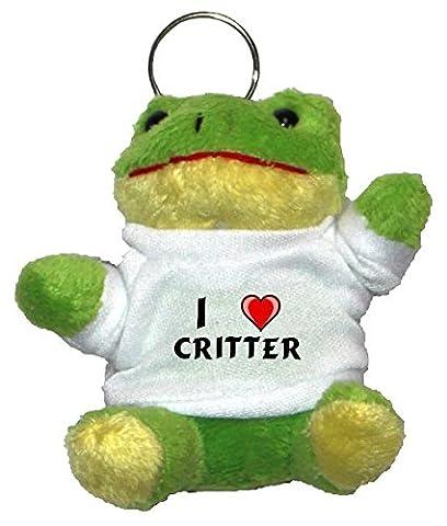 Plüsch Frosch Schlüsselhalter mit einem T-shirt mit Aufschrift mit Ich liebe Critter (Vorname/Zuname/Spitzname)