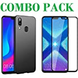 AONIR 5D Tempered Glass & Candy Black Soft Case Cover For Huawei Honor 8X