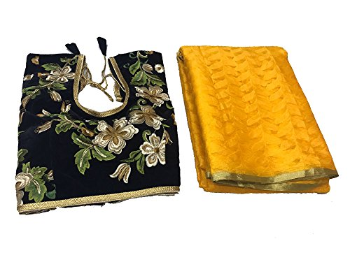 Clickedia Womens Heavy Patola Silk Yellow Saree with matching blouse pc