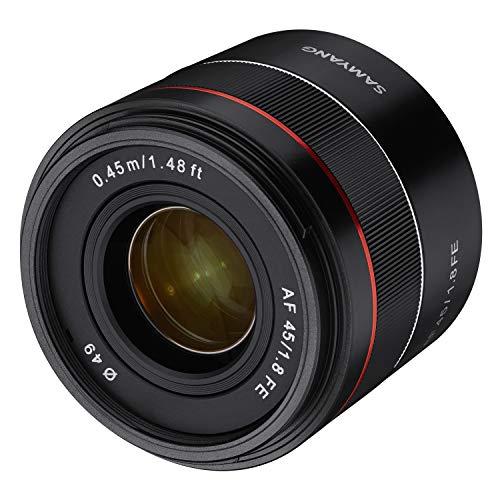 Samyang AF 45mm F1.8 Sony FE (Tiny but Premium) - Vollformat und APS-C Festbrennweite Autofokus Objektiv Sony E FE E-Mount für Sony A9 A7 A6600 A6500 A6400 A6300 A6000 A5100 A5000 Nex Kamera