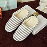 Women House Boots,Mosstars Ladies Winter Warm Slip-On Cotton Fabric Striped Slipper Boot Men Round Toe Anti-Slip Flat with Indoors Footwear Shoes