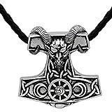 NECKLACE - Colgante nórdico de acero inoxidable con diseño de cabra de vikingo, amuleto y martillo de Thor, de Mjolnir Steampunk