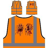 Knights Armor Girls Swords Personalized Hi Visibility Orange Safety Jacket Vest Waistcoat r884vo