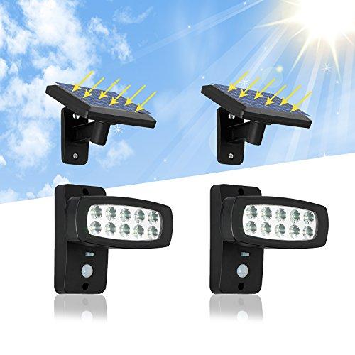 OUBO LED Solarleuchte Außenleuchten mit Bewegungsmelder, mit 2,3M Verlängerungskabel für Garten,...