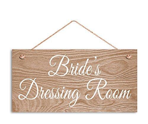 Monsety Bride's Dressing Room Schild, rustikales Hochzeitsschild für Braut, 5 x 10 cm, helles Holzmaserung, Hochzeit, Holzplanke, Hängeschild - Schild-dressing