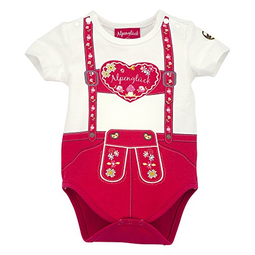BONDI Body halbarm ´Hosenträger Herz´, rot 62 Tracht Baby Mädchen Artikel-Nr.85512