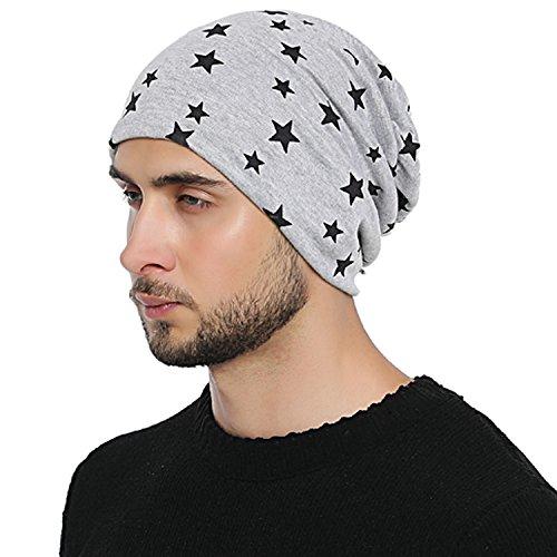 Imagen de dondon hombre gorro de invierno slouch beanie con estampado de estrellas e forro interior suave  gris claro